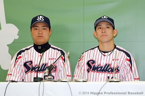 中村悠平選手と森岡良介選手(東京ヤクルト)